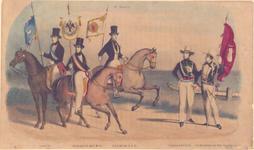 596 [Afbeelding van een drietal ruiters die de vlaggen van resp. Goes, Middelburg en Zierikzee dragen en een tweetal ...