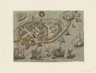 813 Vlissinghe Dlant van Walcheren. [Plattegrond van Vlissingen met opstanden van huizen en gebouwen].