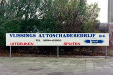 3134 Reclamebord van het Vlissings autoschadebedrijf BV, voorheen Van der Bilt, aan de Edisonweg in Vlissingen