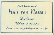 ZIE-8 Café Restaurant Huis van Nassau, Zierikzee