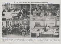 M 4889 Watersnood-vluchtelingen van g watersnood-vluchtelingen in Tiel. De foto linksboven toont de kleedingmagazijnen ...