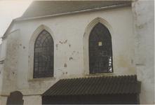 0690-3953 Noord gevel met opberghok voor de restauratie van 1993.