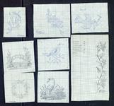 7649 16 patronen met potlood ingetekend en voorzien van kleurnummers, [1980]