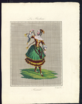 8201 De voorstelling op dit borduurpatroon bestaat uit een meisje in danshouding met een groenrode jurk aan, 15 ...