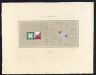 8202 De voorstelling op dit borduurpatroon bestaat uit een rechthoek met aan de linkerkant een groen en een roserood ...