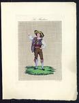 8245 De voorstelling op dit borduurpatroon bestaat uit een motief van een man met een bruine broek en een geelzwarte ...