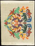 6414 De voorstelling op dit borduurpatroon bestaat uit een gestileerd motief in groen, blauw, paars, geel, oranje, 1811-1848