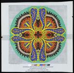 7454 De voorstelling op dit borduurpatroon bestaat uit een kruismotief in geel, blauw, bruin, oranje en bruinbeige ...