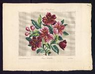 8162 De voorstelling op dit borduurpatroon bestaat uit een boeket met roserode bloemen en knoppen, 15 december 1840