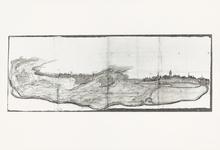 57 Een rivierkaart van het gebied bij Tiel, Wamel en Zandwijk, waarop de zanden in de Waal zijn aangegeven. Deze zanden ...