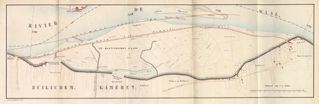 3503-Bk-159 Kaart van de dijkdoorbraken bij Zuilichem en Nieuwaal in de Kostverlorenwaard