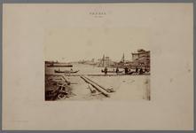 22-9127 Bouw spoorbrug over de Waal, werkzaamheden aan pijlers