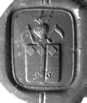 2328 Zegel van: Garde, van de Josina Maria Wilmina Versteegh, echtgenote van Johannes Anton Adriaan van der Garde (zich ...