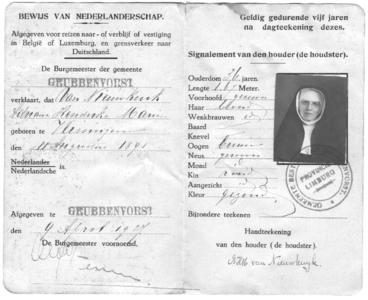 175678 Bewijs van Nederlandse identiteit van zuster van Nieuwkuyk