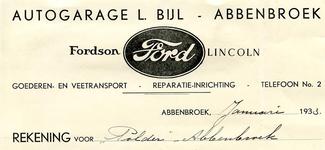 AB_BIJL_002 Abbenbroek, Autogarage L. Bijl - Goederen- en veetransport / reparatie-inrichting / Fordson Ford Lincoln, (1933)