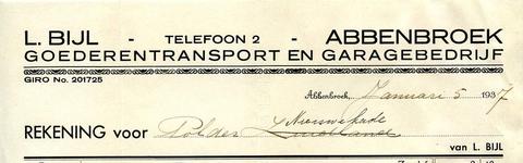 AB_BIJL_003 Abbenbroek, L. Bijl - Goederentransport en garagebedrijf, (1937)