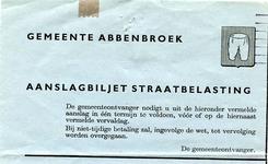 AB_GEMEENTE_001 Abbenbroek, Gemeente Abbenbroek - Aanslagbiljet straatbelasting, (1965)