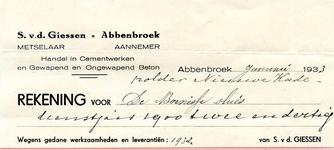AB_GIESSEN_001 Abbenbroek, S. v.d. Giessen - Metselaar / Aannemer / Handel in Cementwerken en Gewapend en Ongewapend ...