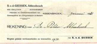 AB_GIESSEN_002 Abbenbroek, S. v.d. Giessen - Metselaaar / Aannemer / Handel in Cementwerken en Gewapend en Ongewapend ...