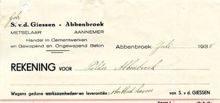 AB_GIESSEN_003 Abbenbroek, S. v.d. Giessen - Metselaaar / Aannemer / Handel in Cementwerken en Gewapend en Ongewapend ...