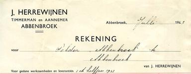AB_HERREWIJNEN_001 Abbenbroek, J. Herrewijnen - Timmerman en Aannemer, (1943)