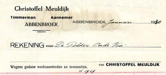 AB_MEULDIJK_001 Abbenbroek, Christoffel Meuldijk - Timmerman / Aannemer, (1930)