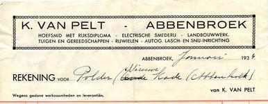 AB_PELT_002 Abbenbroek, K. van Pelt - Hoefsmid met Rijksdiploma / Electrische smederij / Landbouwwerktuigen en ...