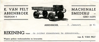 AB_PELT_003 Abbenbroek, K. van Pelt - Machinale smederij K. van Pelt, (1941)