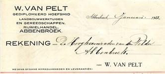 AB_PELT_004 Abbenbroek, W. van Pelt - Gediplomeerd Hoefsmid / Landbouwwerktuigen en gereedschappen / Rijwielhandel W. ...