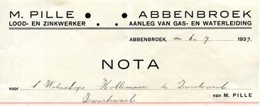 AB_PILLE_001 Abbenbroek, M. Pille - Lood- en zinkwerker / aanleg van gas- en waterleiding M. Pille, (1939)
