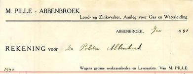 AB_PILLE_002 Abbenbroek, M. Pille - Lood- en Zinkwerker, Aanleg voor Gas en Waterleiding, M. Pille, (1941)