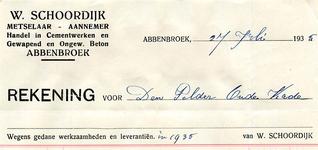 AB_SCHOORDIJK_001 Abbenbroek, W. Schoordijk - Metselaar / Aannemer / Handel in Cementwerken en gewapend en ongewapend ...
