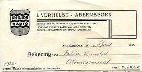 AB_VERHULST_001 Abbenbroek, I. Verhulst - Erkend installateur voor electro en radio / levering en reparatie van alle ...