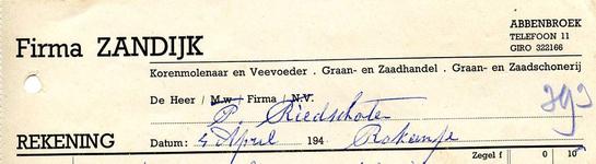 AB_ZANDIJK_001 Abbenbroek, Firma Zandijk - Korenmolenaar en Veevoeder / Graan- en Zaadhandel / Graan- en Zaadschonerij, ...