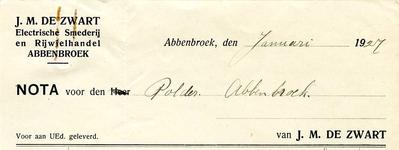AB_ZWART_001 Abbenbroek, J.M. de Zwart - Electrische Smederij en Rijwielhandel, J.M. de Zwart, (1927)
