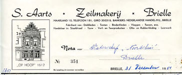 BR_AARTS_003 Brielle, S. Aarts Zeilmakerij Brielle - Zeilmakerij - Fabrikant van: Dekkleden, tenten, binderkleden, ...