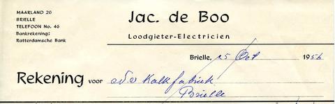 BR_BOO_002 Brielle, Jac. de Boo - Jac. de Boo, Loodgieter - Electriciën, (1956)