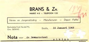 BR_BRANS_001 Brielle, Brans & Zn. - Brans & Zn. Heren- en Jongenskleding, manufacturen, depot: Palthe, (1949)