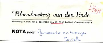 BR_ENDE_001 Brielle, van den Ende - Bloemkwekerij van den Ende, (1971)