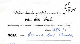 BR_ENDE_002 Brielle, van den Ende - Bloemkwekerij - Bloemsierkunst van den Ende, (1975)