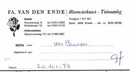 BR_ENDE_003 Brielle, van den Ende - Fa. van den Ende, Bloemsierkunst - Tuinaanleg, (1979)