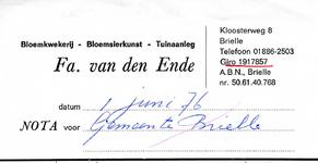 BR_ENDE_004 Brielle, van den Ende - Fa. van den Ende, Bloemkwekerij - Bloemsierkunst - Tuinaanleg, (1976)