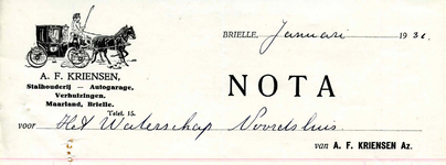 BR_KRIENSEN_005 Brielle, A.F. Kriensen Az. - Stalhouderij, autogarage, verhuizingen A.F. Kriensen Az., (1931)