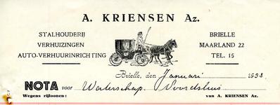 BR_KRIENSEN_006 Brielle, A. Kriensen Az. - Stalhouderij, verhuizingen, auto-verhuurinrichting A. Kriensen Az., (1933)