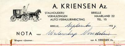 BR_KRIENSEN_009 Brielle, A. Kriensen Az. - Stalhouderij, verhuizingen, auto-verhuurinrichting A. Kriensen Az., (1939)