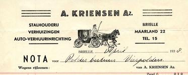 BR_KRIENSEN_010 Brielle, A. Kriensen Az. - Stalhouderij, verhuizingen, auto-verhuurinrichting A. Kriensen Az., (1938)