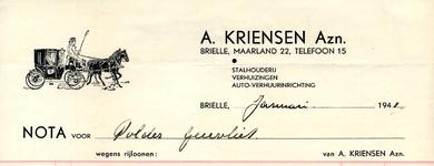 BR_KRIENSEN_011 Brielle, A. Kriensen Azn. - Stalhouderij, verhuizingen, auto-verhuurinrichting A. Kriensen Azn., (1941)
