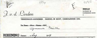 BR_LINDEN_003 Brielle, V.d. Linden - J. v.d. Linden, timmerman-aannemer, handel in hout, carbolineum enz., (1949)