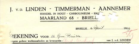 BR_LINDEN_004 Brielle, V.d. Linden - J. v.d. Linden, timmerman-aannemer, handel in hout, carbolineum enz., (1949)