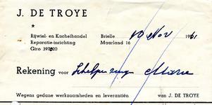 BR_TROYE_001 Brielle, De Troye - J. de Troye. Rijwiel- en kachelhandel. Reparatie-inrichting, (1961)